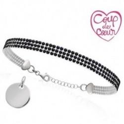 Bracelet gravé Cristal Noir