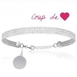 Bracelet gravé Cristal Blanc