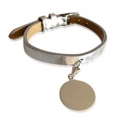 Bracelet Cuir Médaille Argent