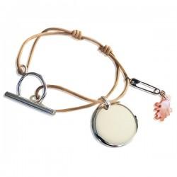 Bracelet médaille silhouette et épingle à nourrice