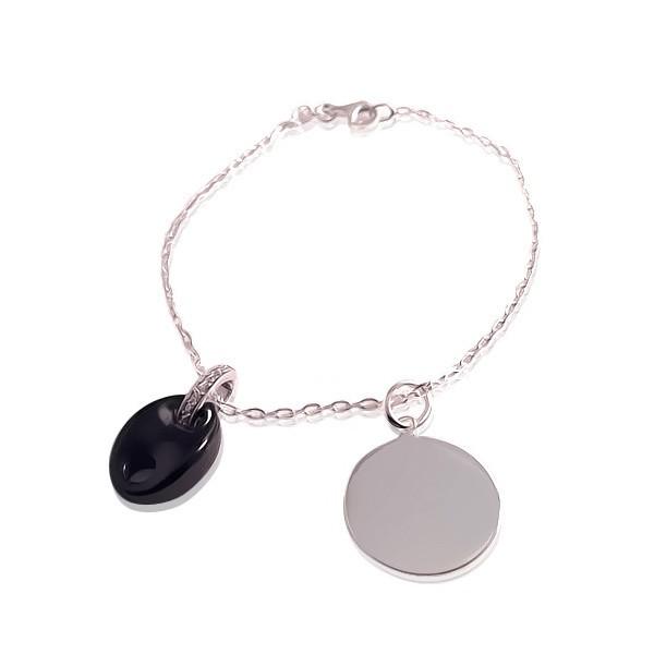 Médaille gravée avec grain de café sur bracelet Tendance