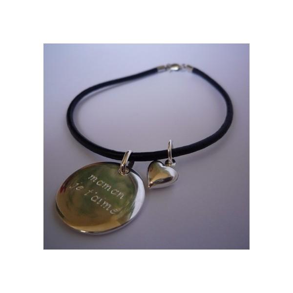 Bracelet cuir médaille