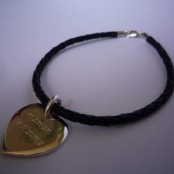 Bracelet médaille cuir tressé