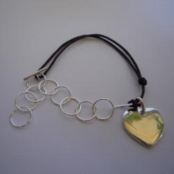 Bracelet bi-matière argent et cordon