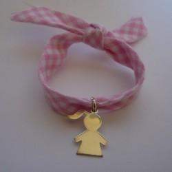 Médaille fille gravée ruban vichy