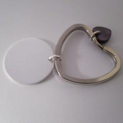 Porte clé coeur fantaisie avec médaille argent