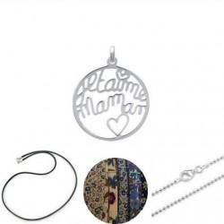 """Pendentif """"Je t'aime maman"""" sur collier au choix"""
