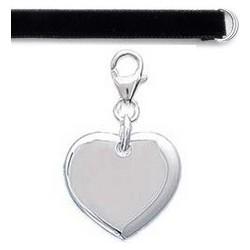 Bracelet velours Médaille coeur Argent