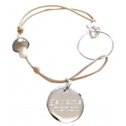 Bracelet Médaille et Champignon de verre