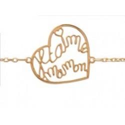 """Bracelet """"Je t'aime Maman"""" Cœur plaqué or"""