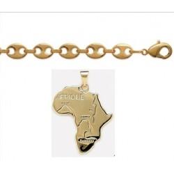 Collier Plaqué Or Avec Pendentif Afrique