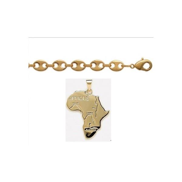 collier plaqu or avec pendentif afrique tendance and co. Black Bedroom Furniture Sets. Home Design Ideas