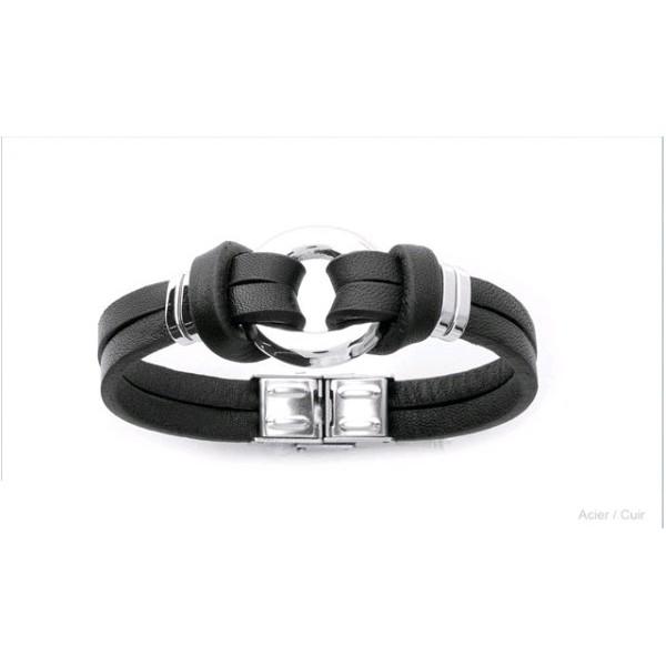 Bracelet Tendance Acier et Cuir