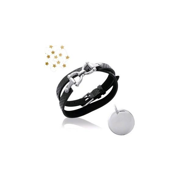 Bracelet Gravé Cuir Et Acier